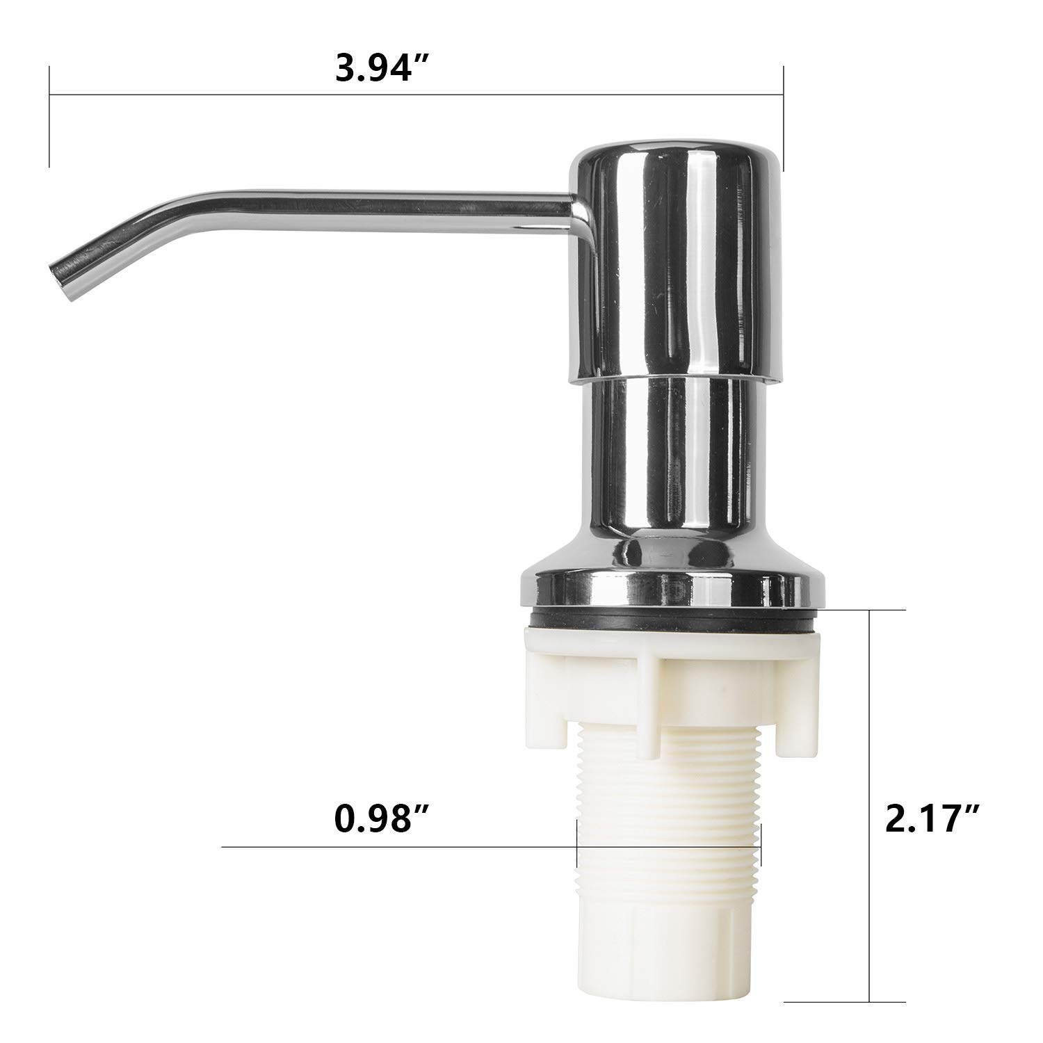Soap Dispenser for Kitchen Sink and Tube Kit,47'' Tube,Chrome Finish Soap Dispenser Pump,No More Messy Refills by WeyTy (Image #5)