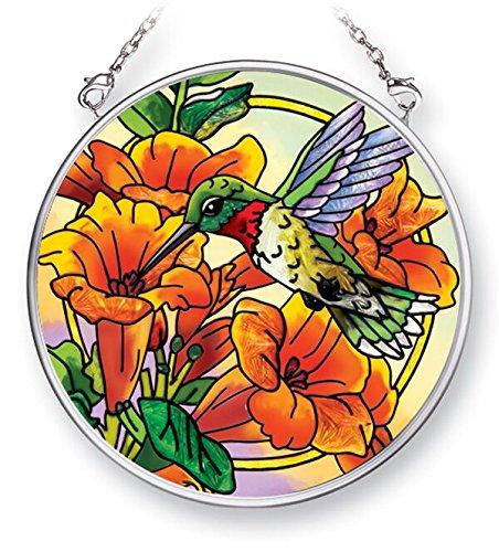 - Amia 42477 Hand-Painted Glass Hummingbird & Trumpet Flowers, Hand-Painted Glass Circle Suncatcher, 3-1/2