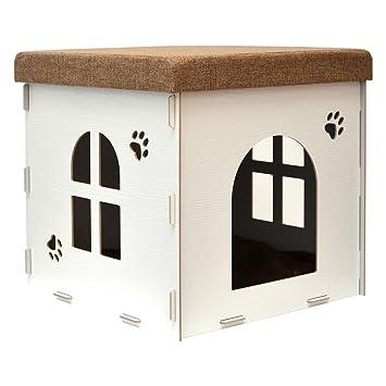 eyepower Caseta para Perro Gato 46x46x46cm cama talla grande L caja cuadrada para mascota con tapa acolchada para sentarse puf escabel Blanco: Amazon.es: ...