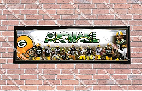 Personalized Customized Green Bay Packers Poster With Frame, With Your Name On It, Party Door Poster, Room Art Decoration, Wall Decor Green Bay Packers Custom Room