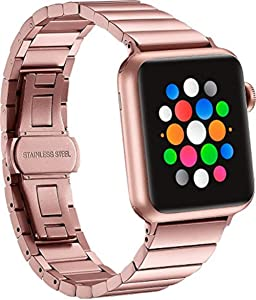 Platinum - Link Stainless Steel Band for Apple Watch 38mm - Rose Gold