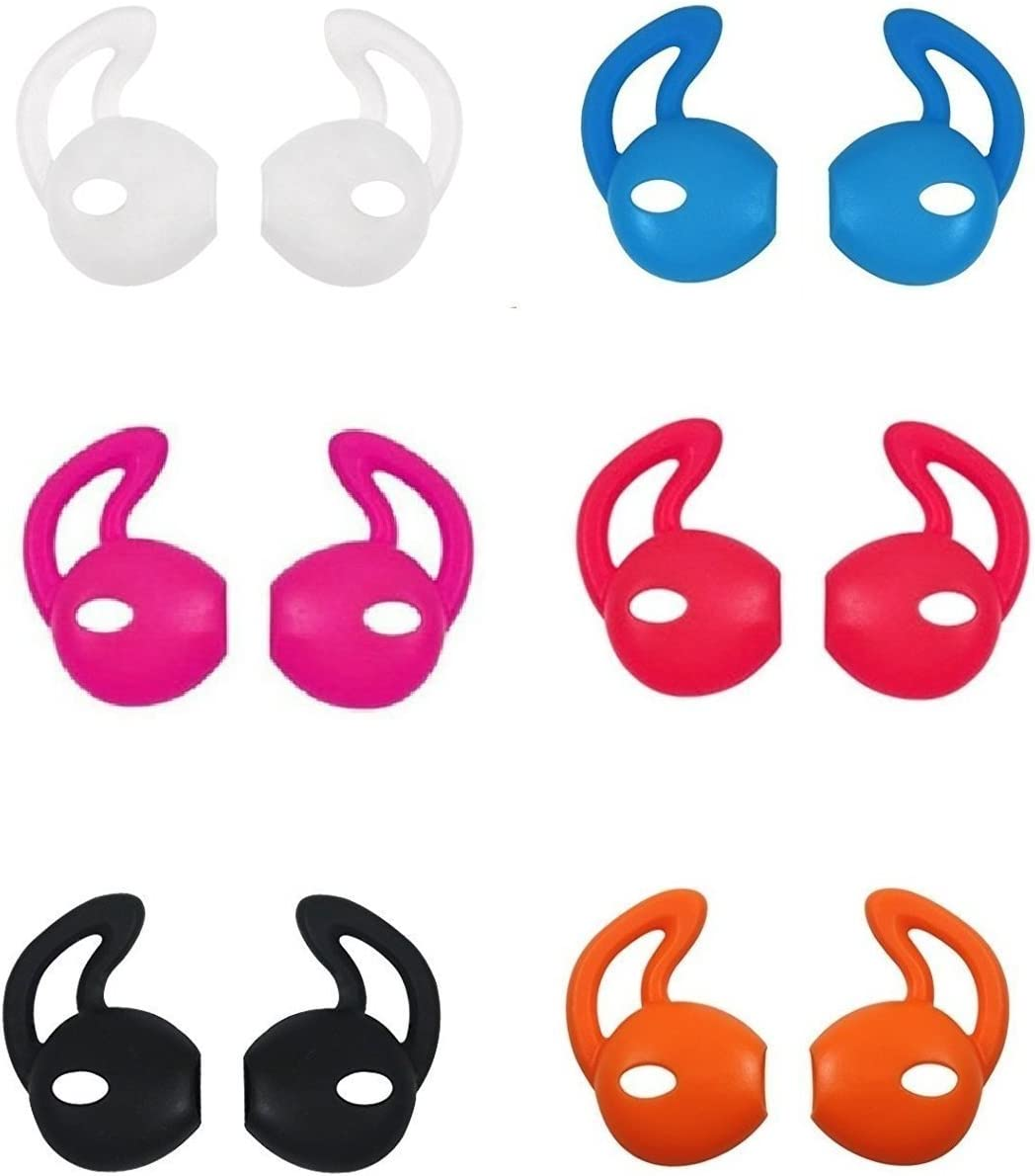 Ear Hooks Gel Covers for Earphones Headphones Earbuds Earpods Soft Anti-Slip 12 Pieces Ear Tips (Black, White, Red, Orange, Clear, Blue, Hot Pink)