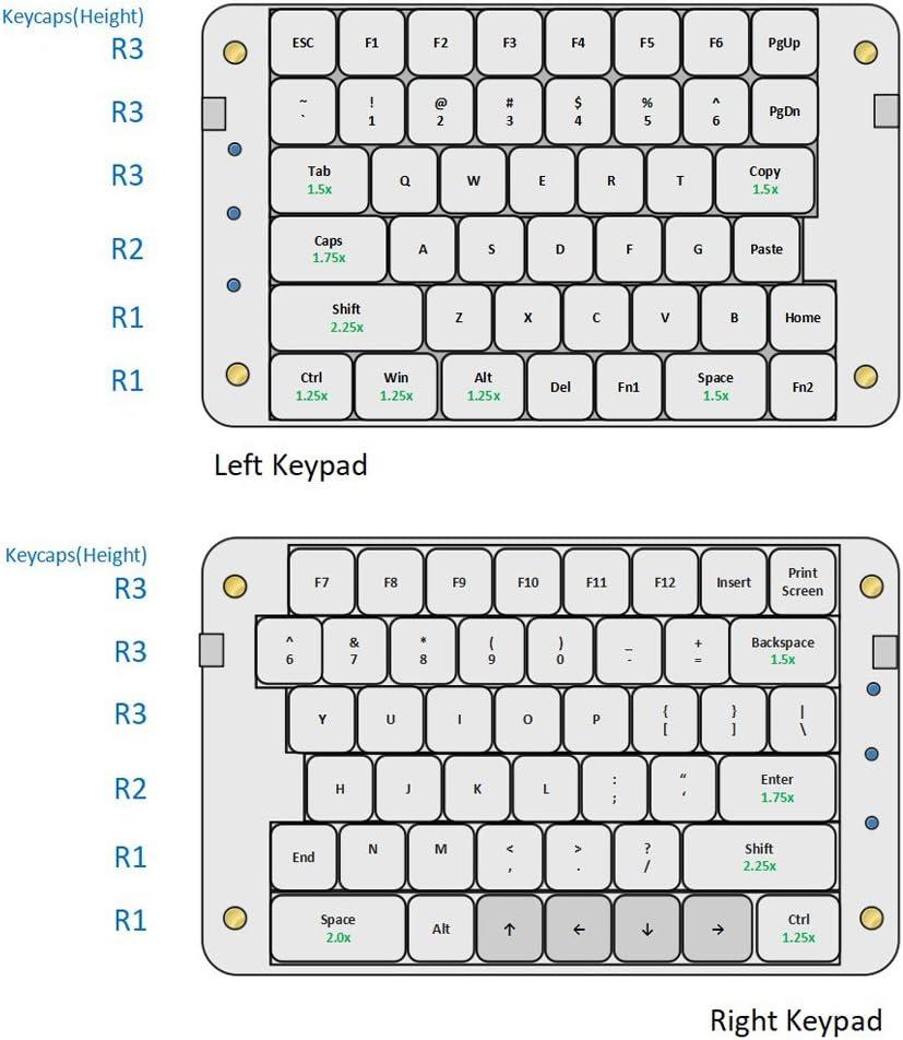 8 Macro Keys - All 89 Keys Programmable Ergonomic Keypad SMKD62 Koolertron Programmable Split Mechanical Keyboard with OEM Gateron Red Switch OEM Red Switch Office