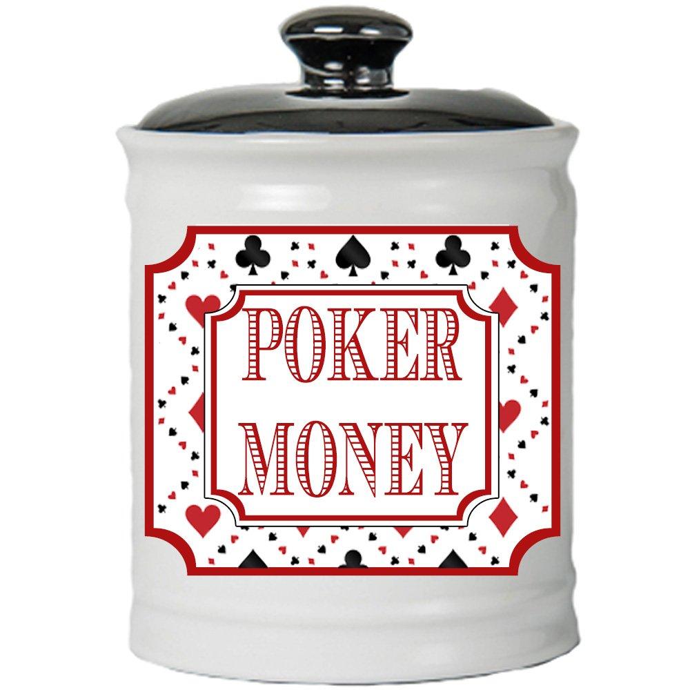Cottage Creek Poker Gifts Round Ceramic Poker Money Jar Poker Piggy Bank Poker Money Coin Bank/Gifts for Men [White]