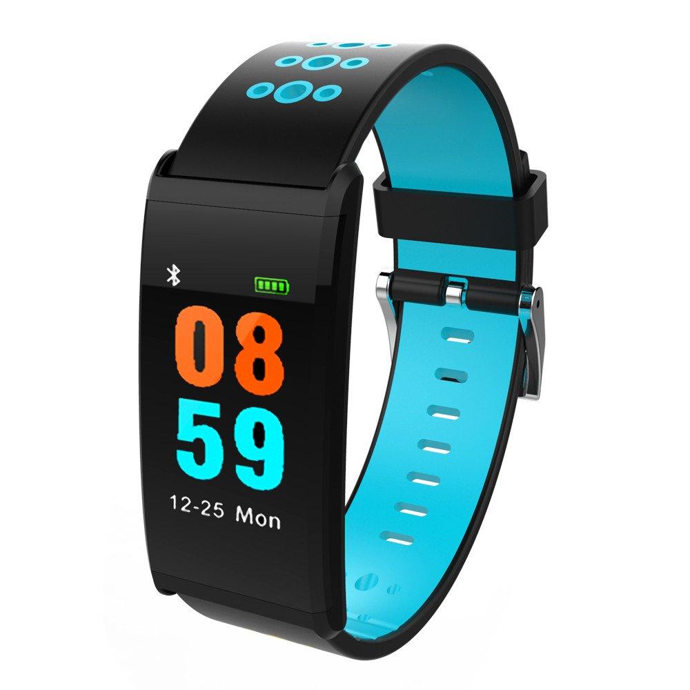 wotryit Fitness Tracker Bluetoothスマート腕時計ip68防水ハートレートモニター睡眠監視 B07BS998VD ブルー ブルー