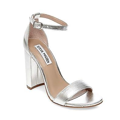 464073739ae Amazon.com | Steve Madden Women's Carrson Dress Sandal, Silver, 5 M ...