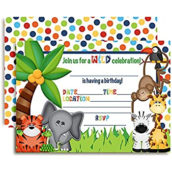 Jungle Themed Birthday Party Fill In Invitations 10 Cards With Envelopes