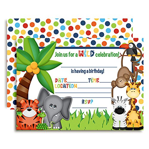 Amanda Creation Jungle Themed Birthday Party Fill in Invitations 20 Fill in Cards with Envelopes -