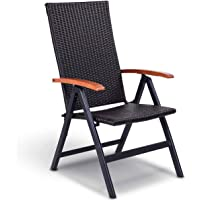 Nightcore Portable Rattan Folding Sling Chair, 5 Adjustable Height, Heavy Duty Indoor Outdoor Wicker Reclining Chairs, Patio Chair with Armrests, Ideal for Camping Garden Pool (1)