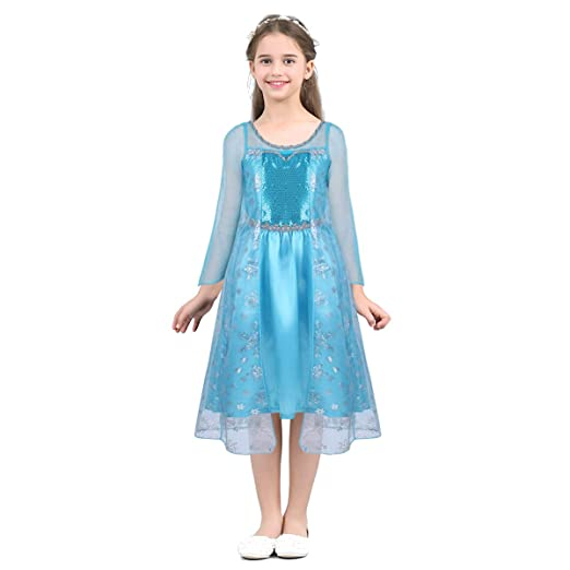 950743fbddce1 Amazon.com  Freebily Girls Sequin Princess Costume Off Shoulder Crop Top  with Pants Set for Halloween Cosplay Party Dress Up  Clothing