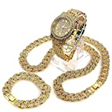 Iced Out Techno Pave Watch & 30'' Cuban Stone Chain Necklace Set (only chain)
