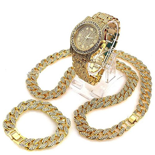 Iced Out Techno Pave Watch & 30'' Cuban Stone Chain Necklace Set (only chain) by Time scent