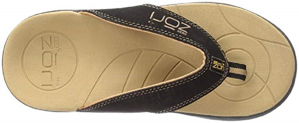 Neat Feat Men's Zori Sport Orthotic Slip-on Sandals Flip Flop, Black/Tan, 12 D US