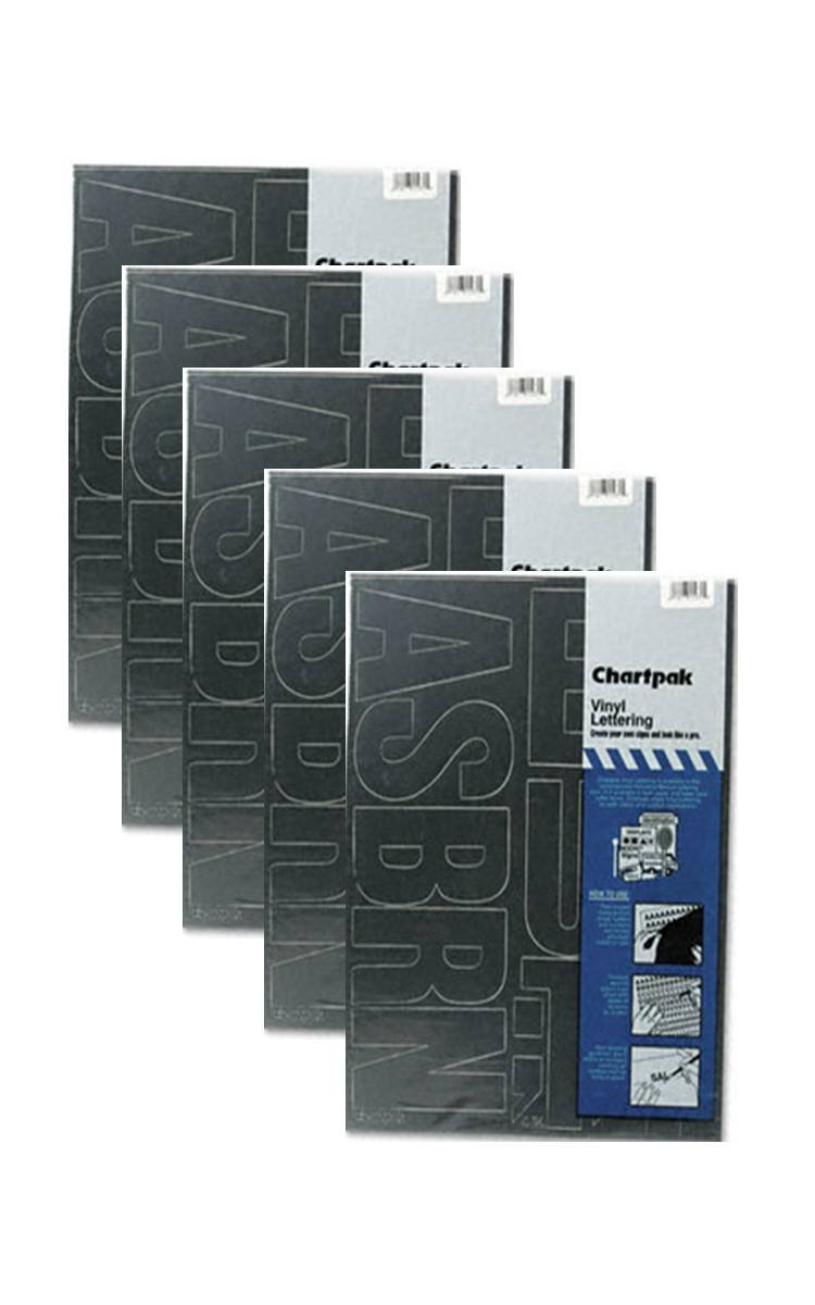 Chartpak 3-inch Black Stick-on Vinyl Letters (01070), 5 PACKS