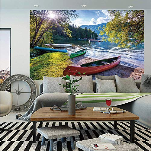 (Landscape Wall Mural,Bohinj Lake with Boats Canoes Triglav National Park Julian Alps Slovenia Print,Self-Adhesive Large Wallpaper for Home Decor 83x120 inches,Multicolor)