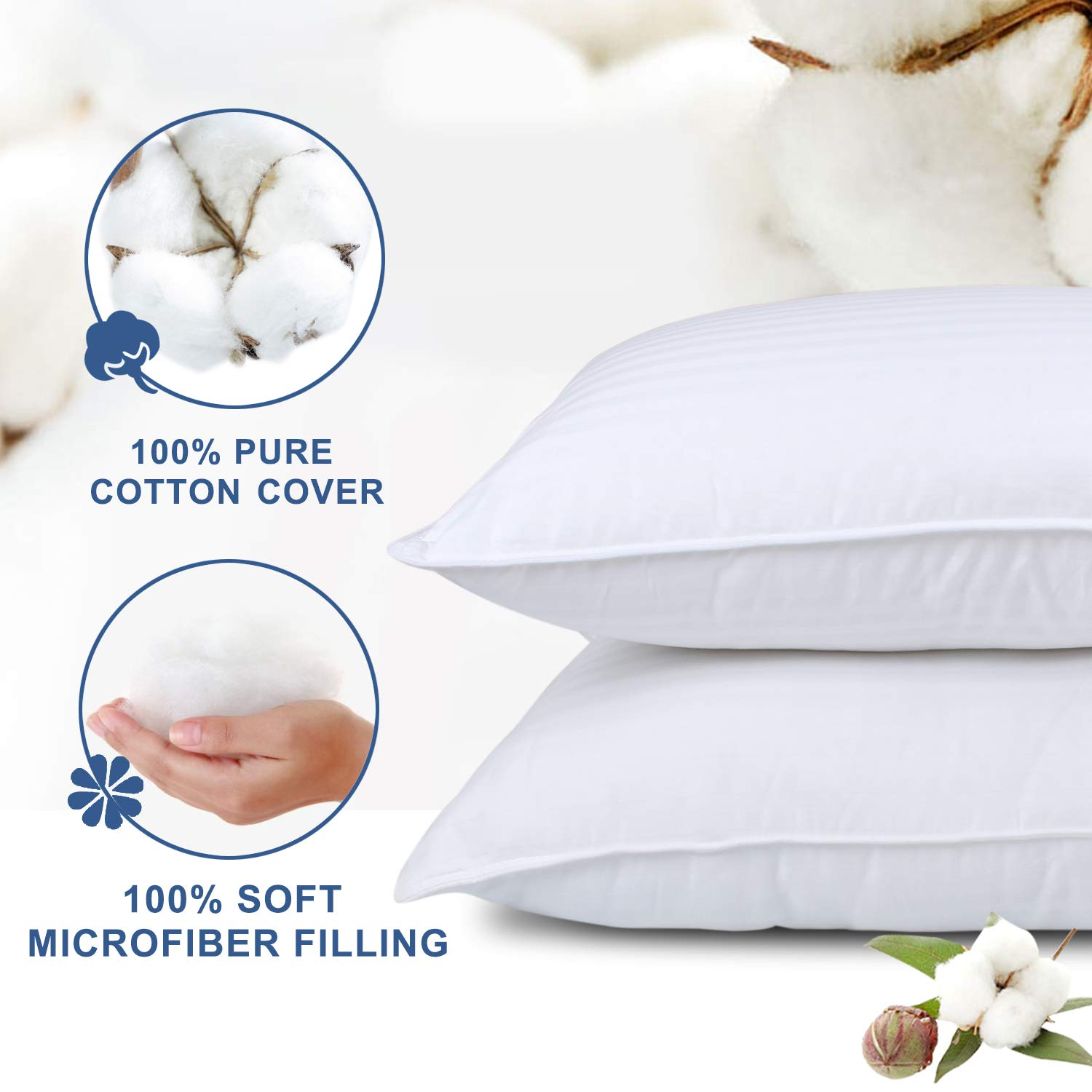 Mid Loft RENPHO Bed Pillows for Sleeping 2 Pack Soft Down Alternative Standard Pillow Plush Fiber Fill Hotel Collection Pillow Hypoallergenic Dust Mite Resistance