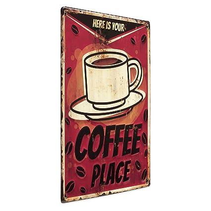 Photolini Plaque En Métal Vintage Coffee Place 30x40 Cm Enseigne Métallique Décorative Pour Cuisine Slogan Rétro Image De Café