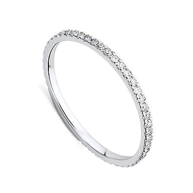 34224a618a Orovi Damen-Ring Memoire Hochzeitsring Weißgold 9 Karat (375) Brillianten  0.26 carat Verlobungsring