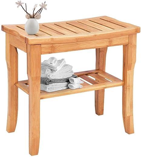 Taburete de ducha de bambú con estante de almacenamiento, taburete de bambú que funciona como taburete de zapatos, banco de ducha de 50 cm x 25 cm x ...