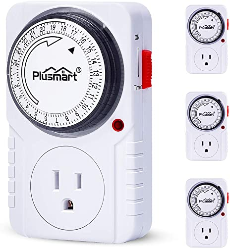 Plusmart 24 Hour Plug-in Programmable Lights Timer for Electrical Outlets, 3-Prong Grounded Sockets for Lamps, Christmas String Lights, Indoor,1875W,15Amp, ETL Listed, 4Pack