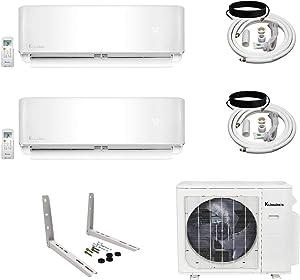 Klimaire 2-Zone (9K BTU + 9K BTU) 21 SEER Ductless Multi-Zone Inverter Air Conditioner Heat Pump with 15 ft Installation Kits