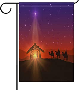 Luora Christian with Christmas Star and Birth Garden Yard Flag Banner House Home Decor 28 x 40 inch, Small Mini Decorative Double Sided Welcome Flags for Holiday Wedding Party Outdoor Outside