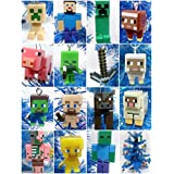 """MINECRAFT Deluxe 20 Piece Christmas Ornament Set Featuring Steve, Creeper and Friends - Ornaments Range from 1"""" to 4"""" Tall"""