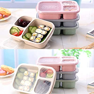 LINKIOM Lunch Box Reusable, Bento lunch Box for Kids and Adults, Leakproof Lunch Containers with 3 Compartments, Lunch box Made by Wheat Fiber Material (BPA Free) (Green): Kitchen & Dining