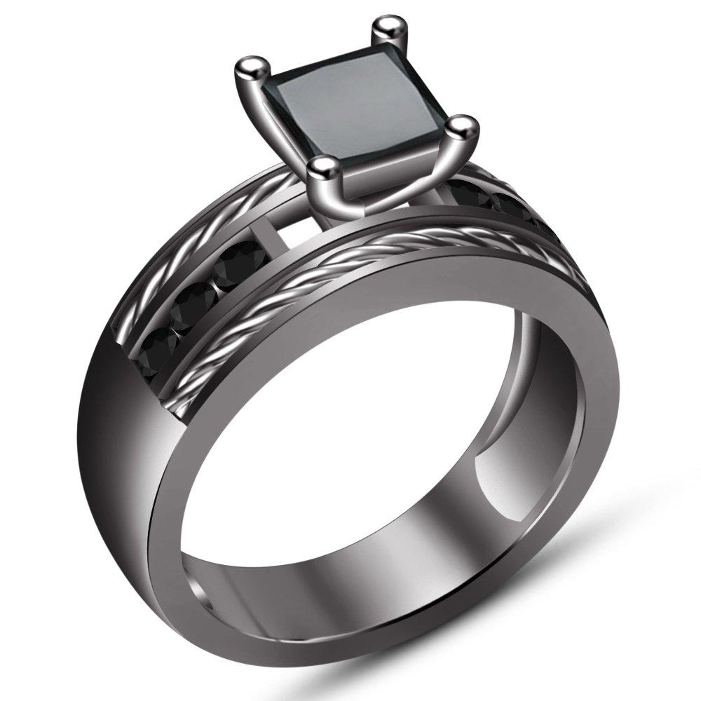 TVS-JEWELS Engagement Wedding Trio Ring Set in Black Rhodium Plated RG26716/_35