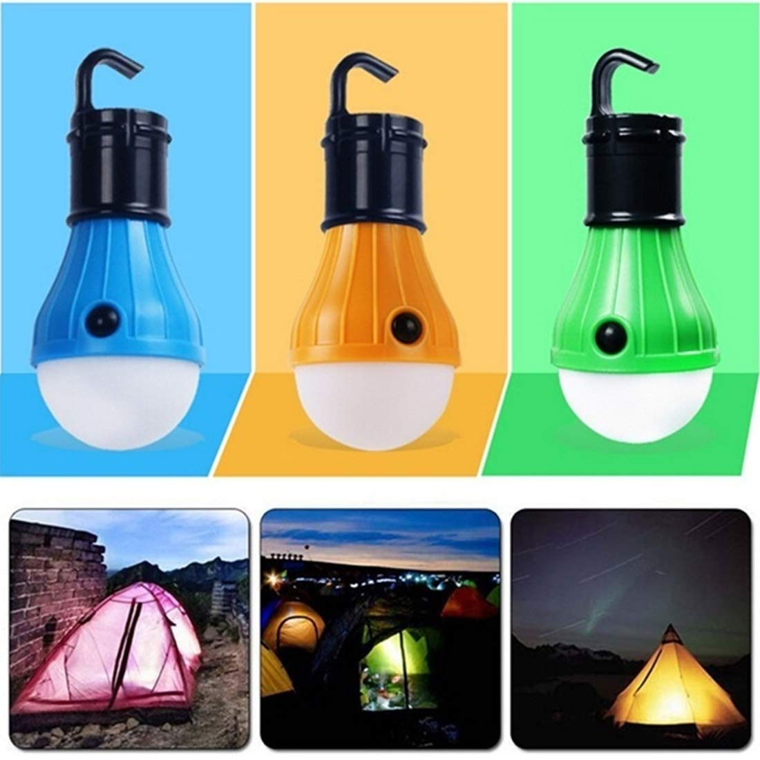 FUT_Forever Tent Lamp Portable LED Tent Light 1/2 Packs Hurricane Emergency Lights Camping Light Bulbs for Camping Hiking Backpacking Fishing, Battery Powered