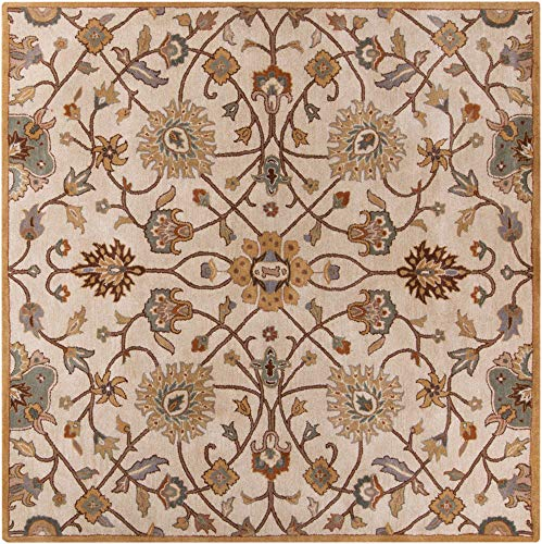 Surya CAE1081-6SQ Square Floral Traditional Area Rug, 6-Feet Square, Off-White
