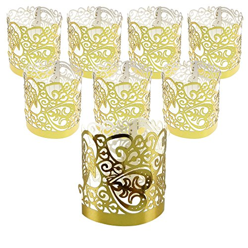 - Gold Flameless Votive Wraps Candle Holders Paper Decorative Of Laser Cut For Wedding Outdoor LED Tealight, 20 Counts by GOCROWN