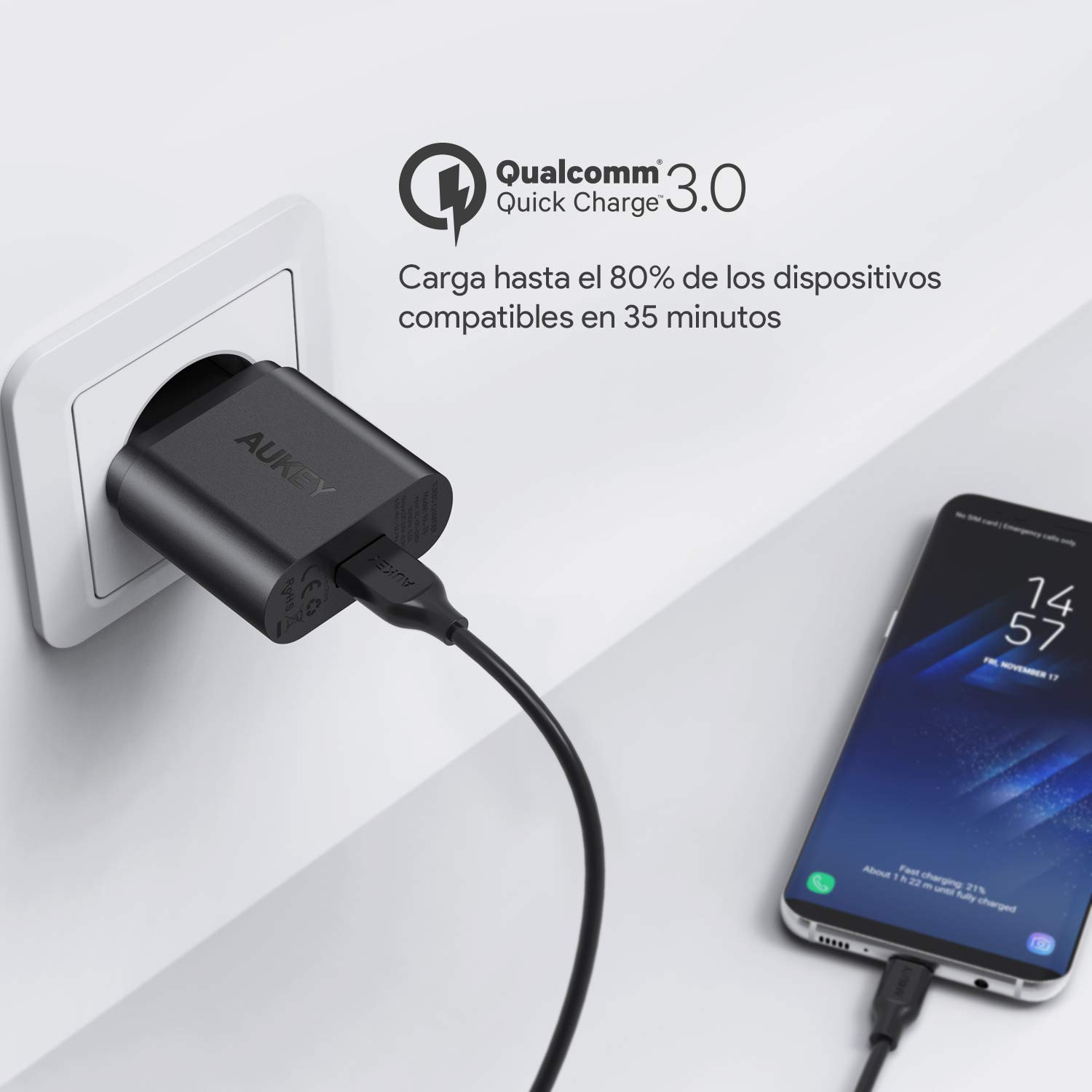 AUKEY Quick Charge 3.0 Cargador de Red 18W [Qualcomm Certificado] Cargador Móvil para Samsung Galaxy S8 / Note 8, LG G5, Nexus, HTC, iPhone XS / ...