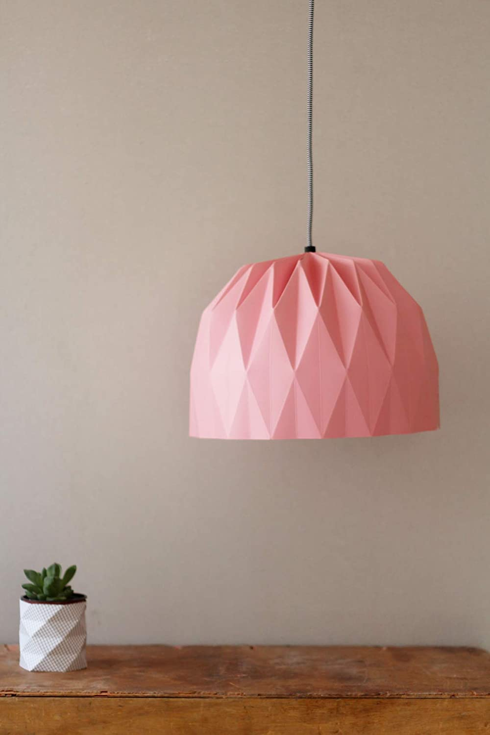 Tweelingen Modern Home Decor  - Unique Origami Pendant Light Folding Paper Lampshade with Socket and Black Cord (Pink)