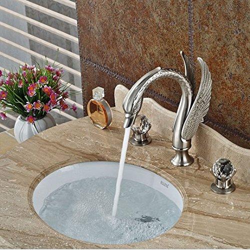 GOWE Luxury Bathroom Swan Style Basin Sink Faucet Widespread Bathroom Mixer Taps Brushed Nickel 3 Holes 1