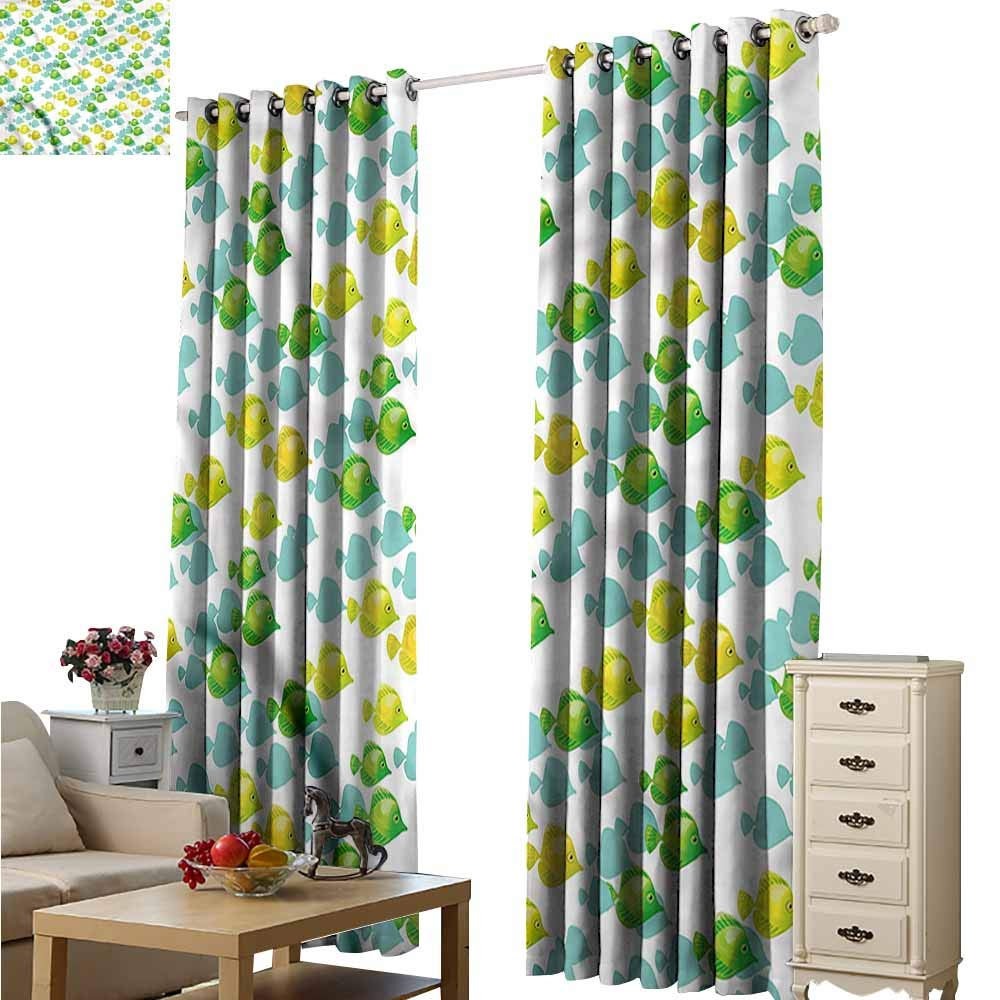 color08 108\ color08 108\ Beihai1Sun Curtains for Living Room Aquarium Small Pet Fishes Pattern Room Darkening, Noise Reducing W108x108L