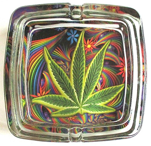 Marijuana Weed Deluxe Glass Ashtray Model 3