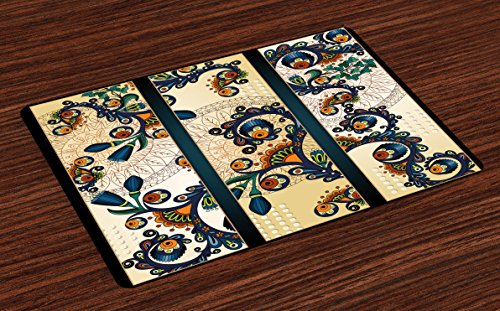 Abstract Place Mats Set of 4 by Lunarable, Paisley Batik Floral Design Ethnic African Hand Drawn Ornament Artwork, Washable Placemats for Dining Room Kitchen Table Decoration, Navy Blue Orange Green (African Batik Art)