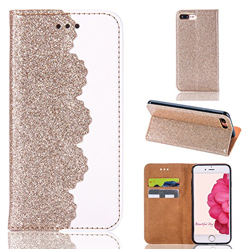 """Bling Case for iPhone 7 Plus/8 Plus 5.5"""",Sunroyal Bling Glitter Flowers Sparkling Powder Flip Wallet Magnetic Closure Soft Smart Premium PU Leather Cover [ID&Credit Card Slot]Money Slot for Boy-Gold"""