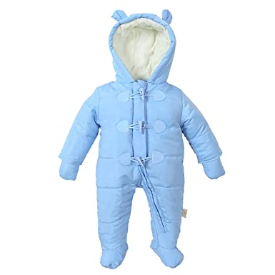 8d6a90a74e53f Famuka Baby Boys Girls Winter Cotton Snowsuit Romper Warm Windbreaker  (Blue