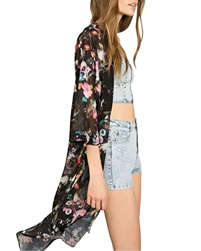 Mujeres Bohemian Bikini Cover Up Kimono Bañador Playa Vestido Vintage Cardigan