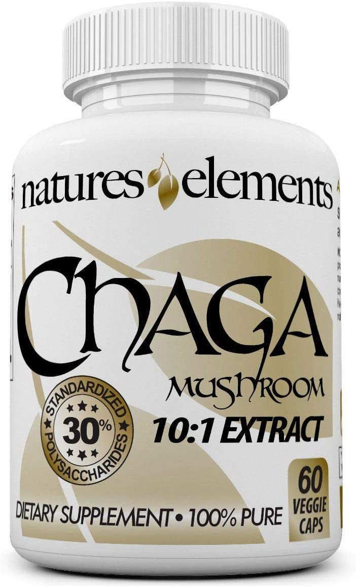 Chaga Mushroom for Immune Support – Standardized 10 1 Chaga Extract – 30 Polysaccharides – Free Gift with 3 Bottle Purchase – 1 Month Supply – 500mg Veggie Caps
