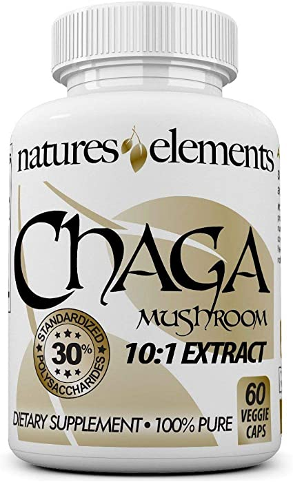 Chaga Mushroom for Immune Support - Standardized 10:1 Chaga Extract - 30% Polysaccharides - Free Gift with 3 Bottle Purchase! - 1 Month Supply - 500mg Veggie Caps