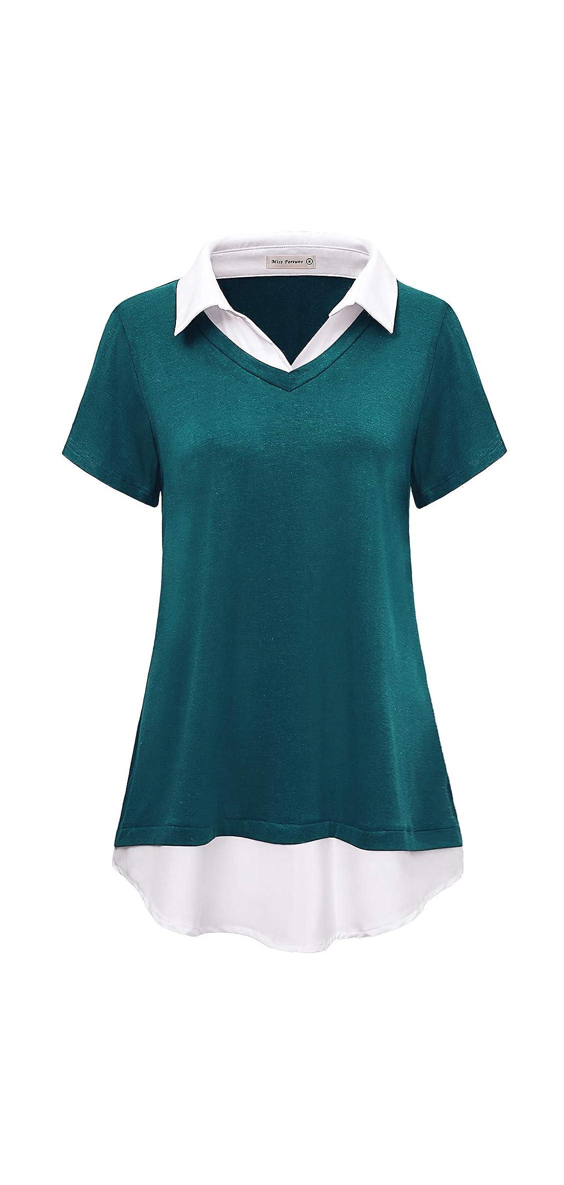 Women's Contrast Collar Short Sleeve Tunic Casual