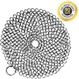 Cast Iron Cleaner, Anti-Rust Stainless Steel Chainmail Scrubber with Corner Ring - 7 Inch Round
