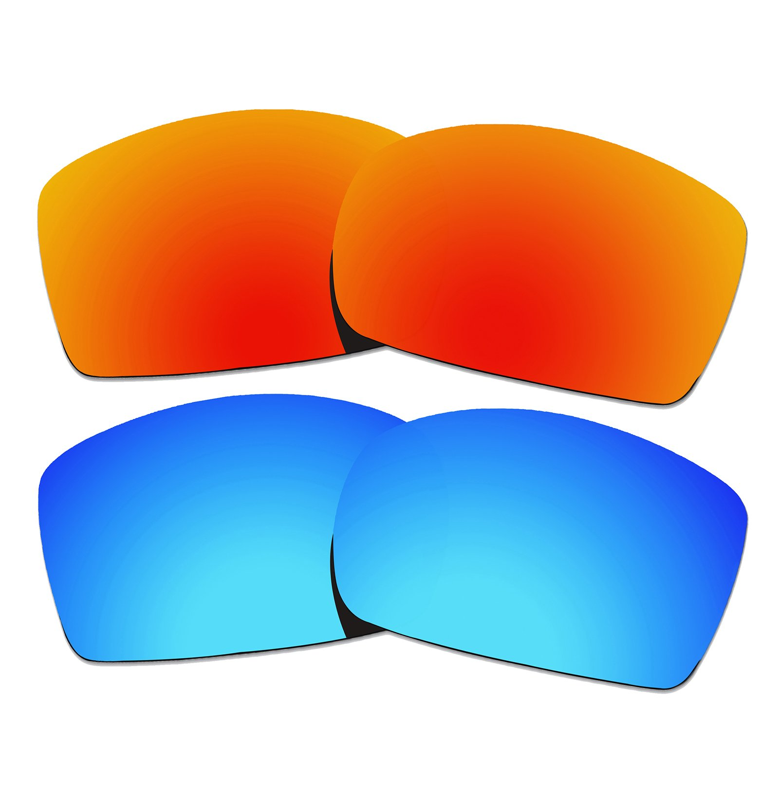 2 Pairs COLOR STAY LENSES 2.0mm Thickness Polarized Replacement Lenses for Oakley Square Wire II New (OO4075) Sunglasses Fire Red Mirror & Blue Mirror by COLOR STAY LENSES