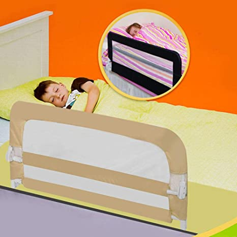 lyrlody Bed Rails,1.2M Kids Bed Rail Guard Portable Child Safety Guardrail Children Vertical Lifting Bed Rail Baby Protection Bedguard for Toddler Baby Children Beige