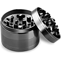 """LGNTXDC 2.5"""" Spice Grinder with Sieve and Magnetic Lid, Large 4-Piece Premium Black Zinc Alloy Mill with Razor-Sharp Teeth"""
