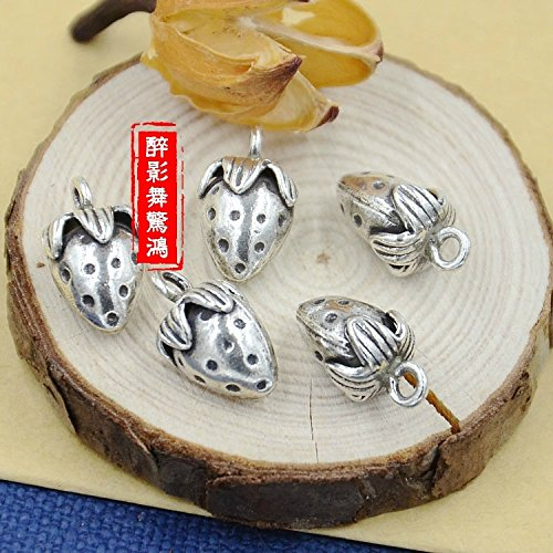 usongs Chiang Mai Thailand 925 sterling silver Thai silver necklace pendant handmade silver strawberry necklace pendant anklet bracelet DIY accessories 34