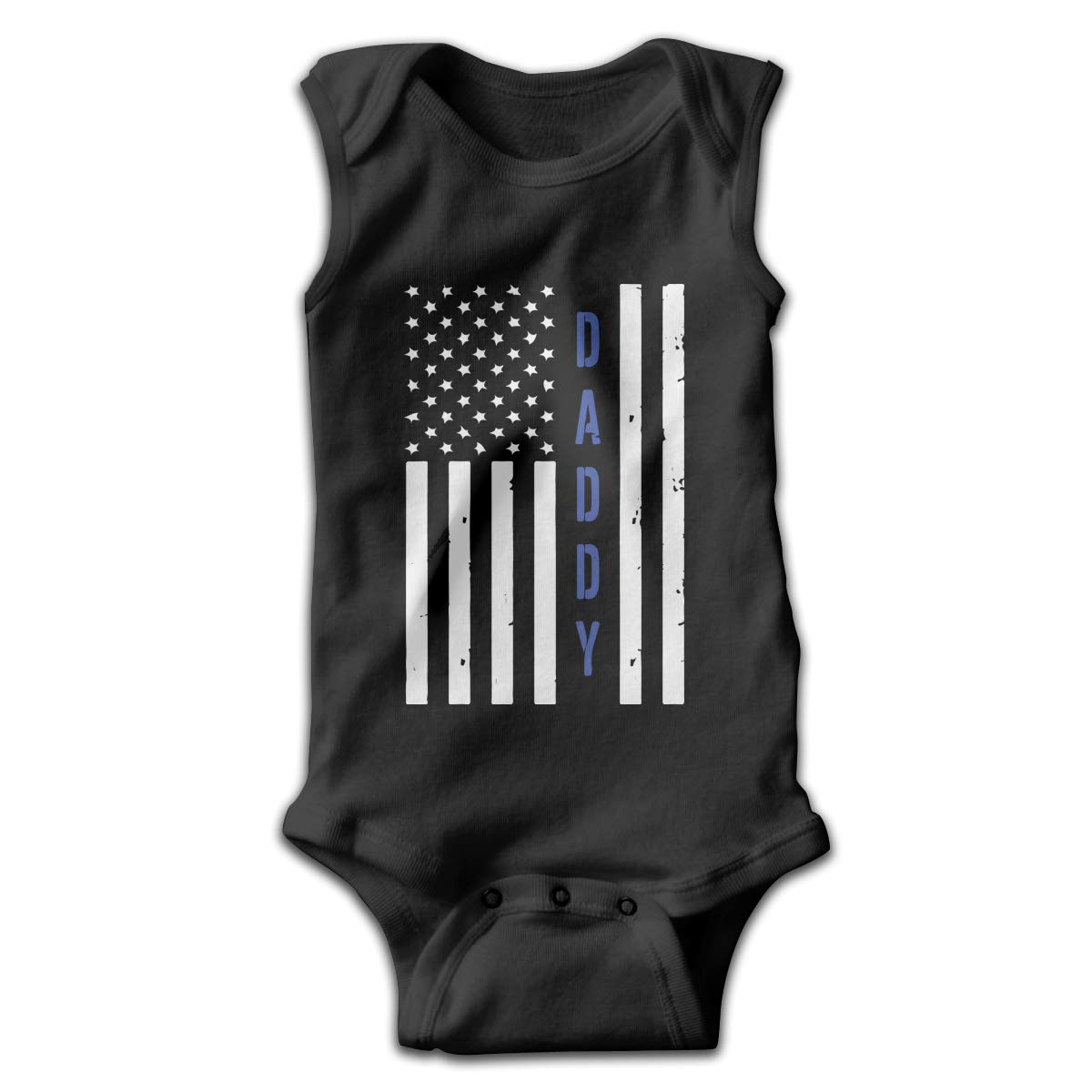 MMSSsJQ6 Police Daddy Blue Line Daddy Infant Baby Boys Girls Infant Creeper Sleeveless Rompers Romper Jumpsuit